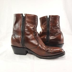 DOUBLE H HH boots 1874 zip ankle women's size 8 1/2 8.5 D vintage leather boot